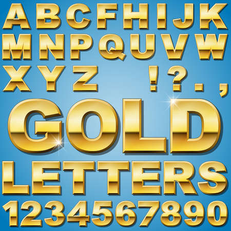 gold letters: An Alphabet Sit of Shiny Gold Metal Letters and Numbers