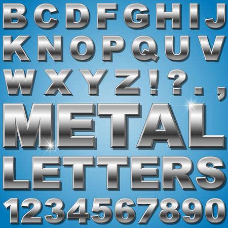 Een alfabet Sit van glanzend metaal Letters en cijfers