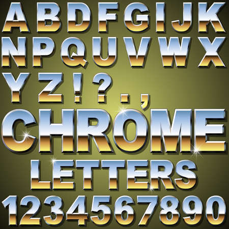 typeface: An Alphabet Sit of Shiny Chrome Metal Letters and Numbers