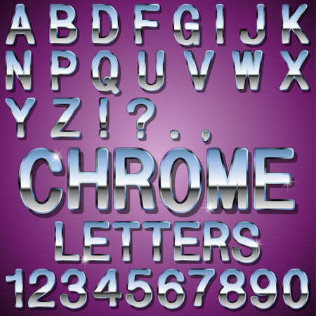 An Alphabet Sit of Shiny Chrome Metal Letters and Numbers Stock Vector - 23871709