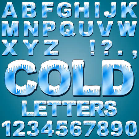 alphabet letter a: An Alphabet Set of Cold Letters and Numbers with Snow and Ice