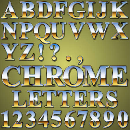 An Alphabet Sit of Shiny Chrome Metal Letters and Numbers Vector