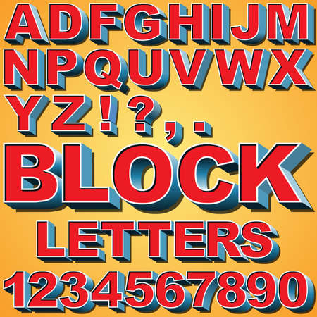 block letters: An Alphabet Set of 3D Block Letters and Numbers