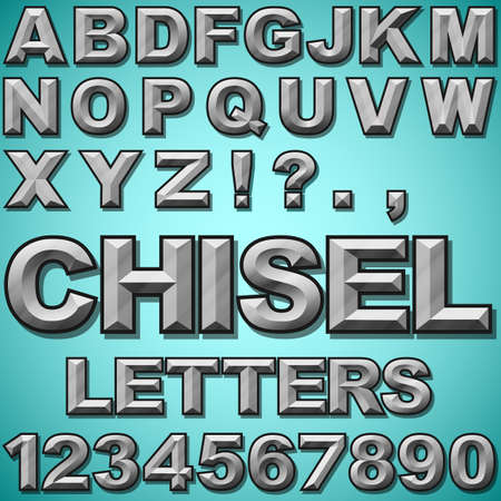 carved letters: An Alphabet Set of Chiseled Block Letters and Numbers