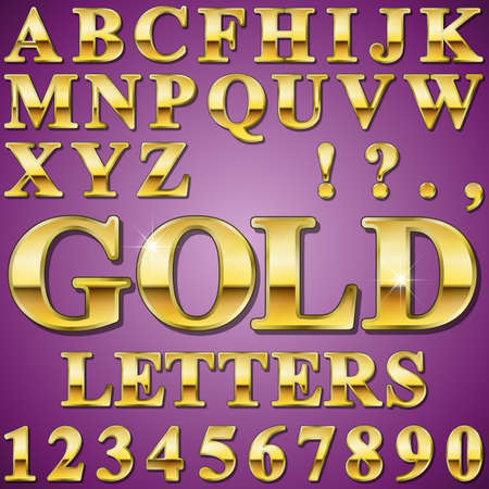 chiseled: An Alphabet Sit of Shiny Gold Metal Letters and Numbers