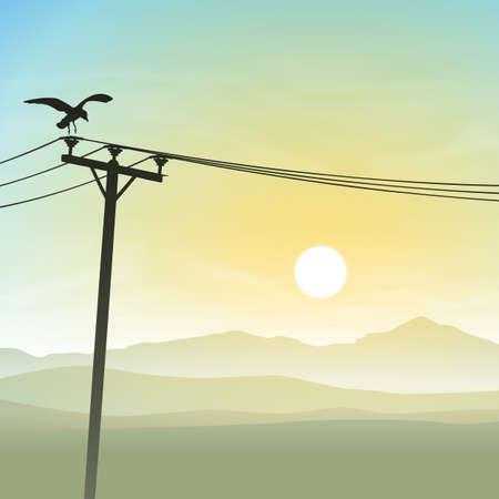 A Bird on Telephone Lines with Misty Sunrise