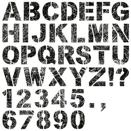 An Alphabet Set of Grunge Stencil Letters and Numbers Çizim