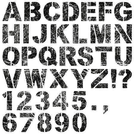 Un Conjunto De Alfabeto de Grunge Stencil Letras y números Ilustración de vector