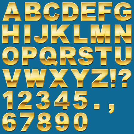 An Alphabet Sit of Shiny Gold Metal Letters and Numbers Vector
