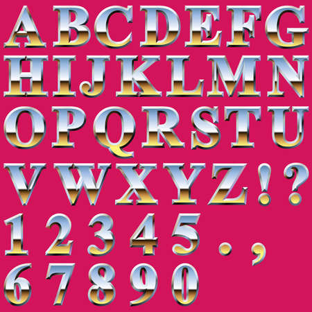 chrome metal: An Alphabet Sit of Shiny Chrome Metal Letters and Numbers