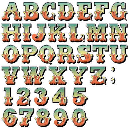 retro font: Un Sit Alfabeto di Carnevale, circo, luna park, Fishtail lettere e numeri