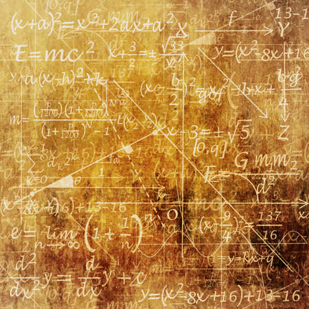 mathematical symbol: An Old Grunge Scientific Background with Mathematical Equations