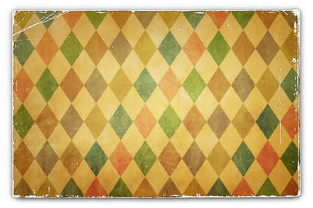 deteriorated: An Antique, Vintage, Grunge, Card, Paper Background with Rhombus Pattern