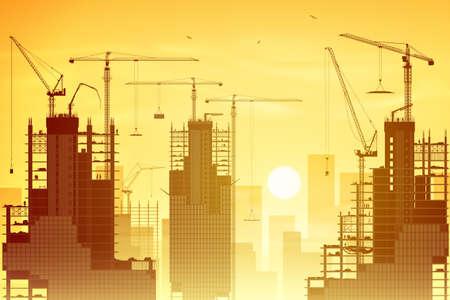 Een Bouwplaats met veel Torenkranen en zonsondergang, zonsopgang