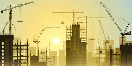 タワー クレーンおよび日没、日の出のたくさんの工事現場