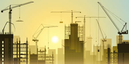 A Construction Site with Lots of Tower Cranes and Sunset, Sunrise Vector