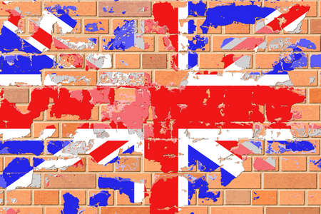 grunge union jack: A United Kingdom, British Flag on an Old Grunge Brick Wall
