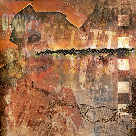 deteriorated: A Grunge Background with Broken Glass and Rusty Metal