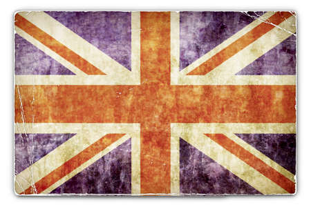 deteriorated: An Antique Card with United Kingdom, British Flag Stock Photo