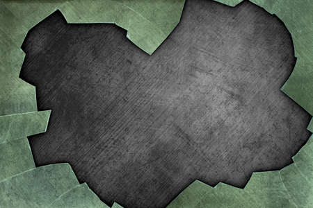 deteriorated: A Grunge Metal Background with Broken Glass Border Stock Photo