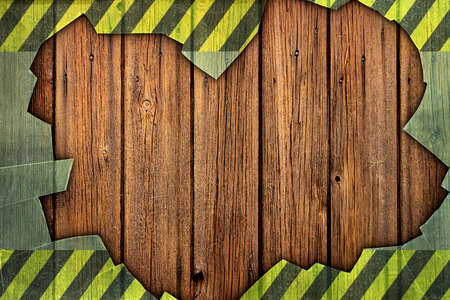 deteriorated: A Grunge Wood Background with Broken Glass Border