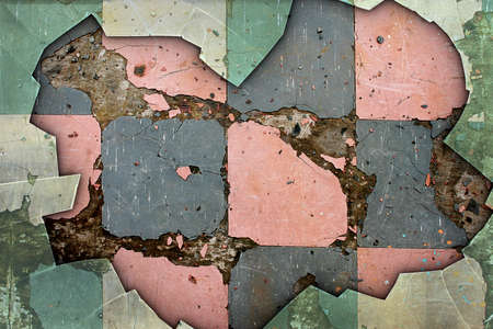 deteriorated: A Grunge Background with Old Floor Tiles and Broken Glass Border
