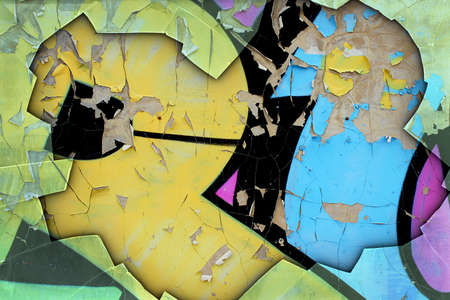 deteriorated: A Grunge Background with Graffiti and Broken Glass Border