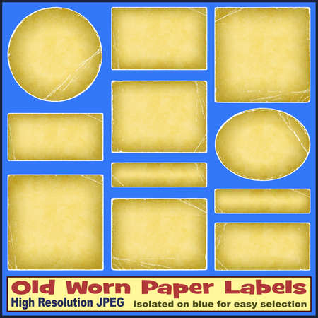 deteriorated: A Set of Old Worn Paper Labels - Illustrations not scans - Isolated on blue for easy selection Stock Photo