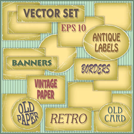 deteriorated: A Set of Old Worn Paper Labels Illustration
