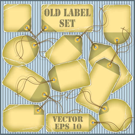 deteriorated: A Set of Old Worn Paper Price Tags, Labels