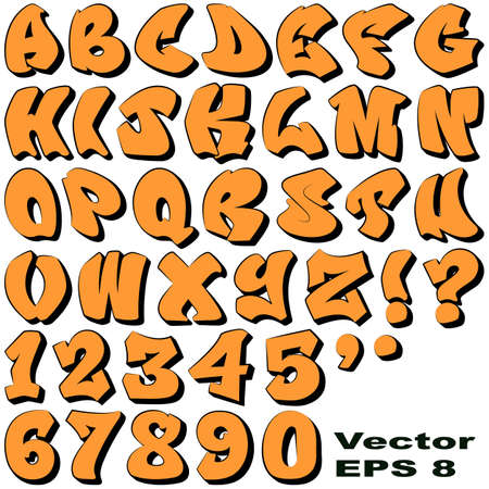 An Alphabet Sit of Graffiti Letters and Numbers