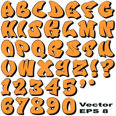 abecedario graffiti: Un alfabeto de Sit Pintada Letras y números