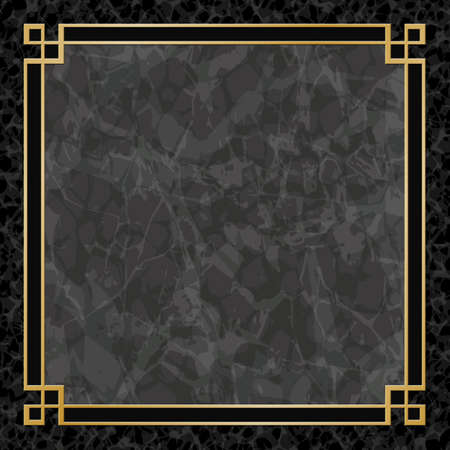 granite: A Black Marble Backgrounds with Gold Frame, Border
