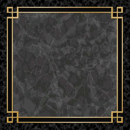 Een zwarte Marmeren Achtergronden met gouden frame, Border Stock Illustratie