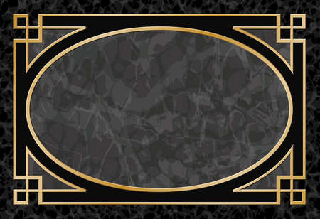 grey backgrounds: Black Marble Background with Gold Frame, Border - Vector EPS 10 Illustration