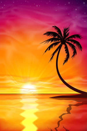 palm tree vector: A Beautiful Sunset, Sunrise with Palm Tree - Vector EPS 10.
