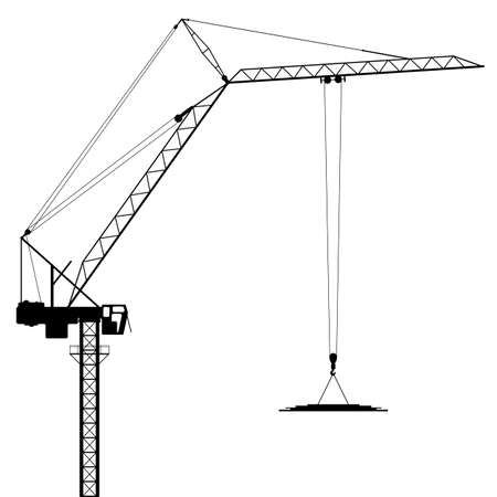 hoisting: A Tower Crane in Silhouette - Vector EPS 8 Illustration