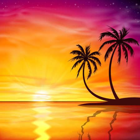 sea shore: A Beautiful Sunset, Sunrise with Palm Trees - Vector EPS 10. Illustration