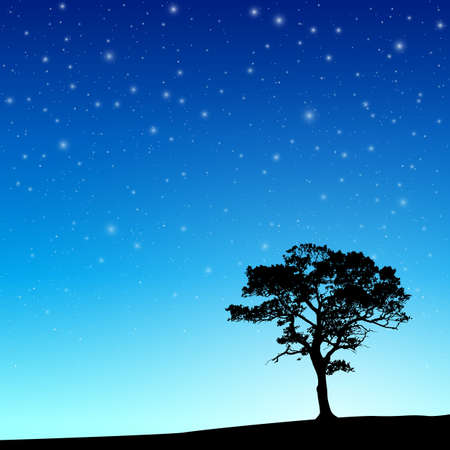 lone: Lone Tree in Silhouette with Night Sky and Stars - Vector EPS 10 Illustration