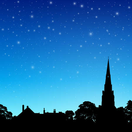 spire: Church Spire in Silhouette with Night Sky and Stars. - Vector EPS 10 Illustration