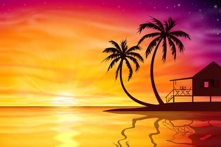 beach hut: A Beautiful Sunset, Sunrise with Palm Trees and Beach Nut - Vector EPS 10.