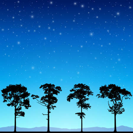 astral: A Line of Trees in Silhouette with Night Sky and Stars. - Vector EPS 10