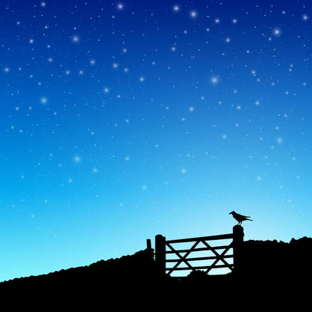 astral: A Farm Gate in Silhouette with Night Sky and Stars. - Vector EPS 10 Illustration