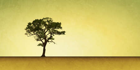 solitary: Slightly Grungy Landscape Illustration with Lone Tree Stock Photo