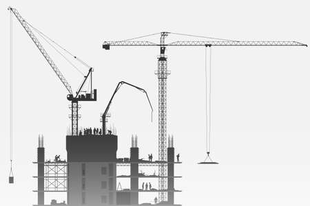 A Construction Site with Tower Cranes Illustration