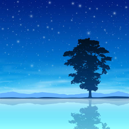 A Single Tree Standing Alone with Night Sky and Reflection in Water