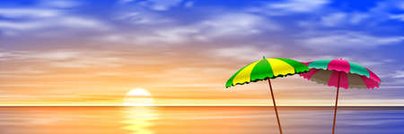 sea horizon: Two Parasols on a Beach with Sunset