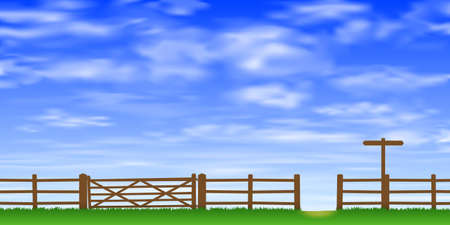 foot path: A Wooden Gate and Fence with Grass and Blue Sky.