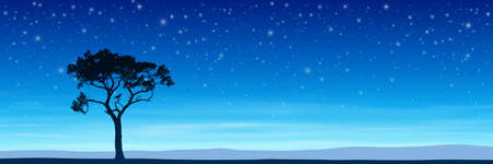 astral: Lone Tree in Silhouette with Night Sky and Stars  Illustration
