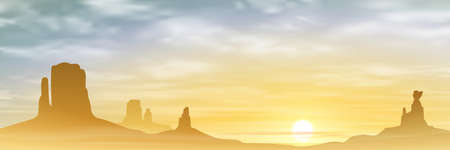 monument valley: A Desert Landscape with Mountains and Sunset, Sunrise.